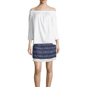 New Michael Kors Fringe Trim Marled Knit Skirt